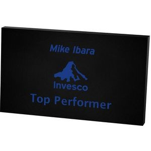 "Black Rectangular Acrylic Paper Weight (3""x 5""x 3/8"") Screen-printed"